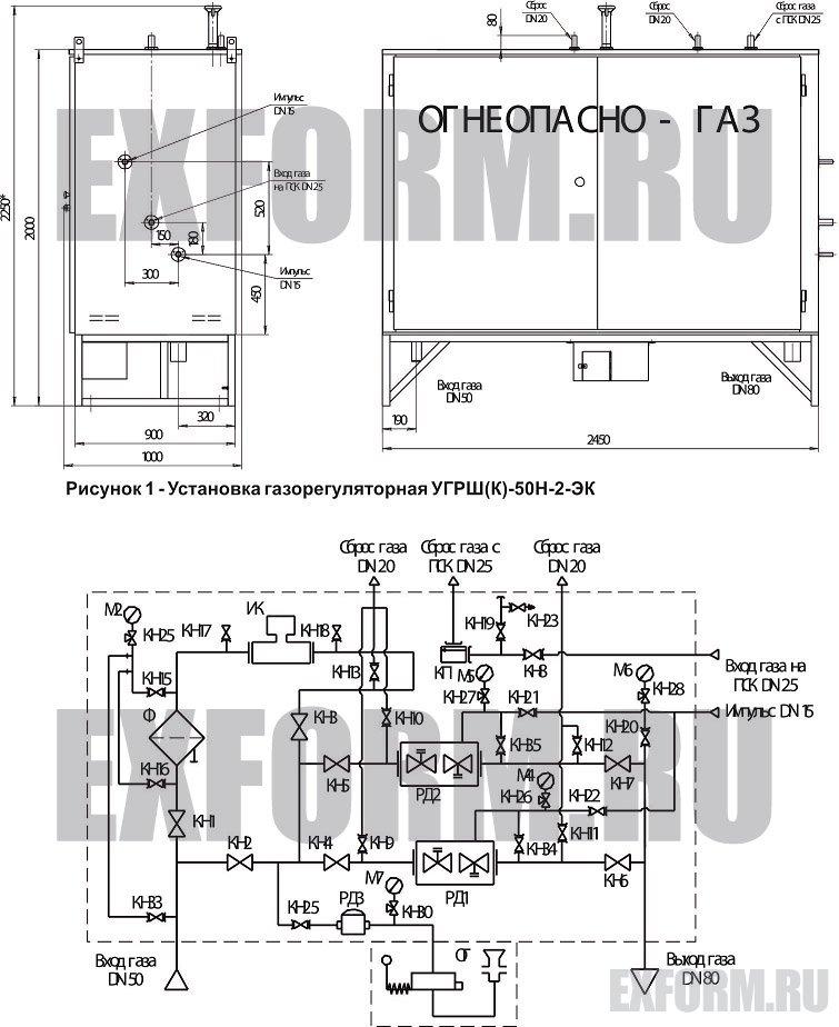 схема УГРШ(К)-50Н-2-ЭК с узлом